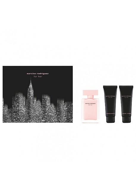 NARCISO RODRIGUEZ FOR HER- cofanetto eau de parfum 50ml + shower gel 75ml + body lotion 75ml